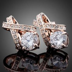X Element Rose Gold Color Stellux Austrian CrystalEarrings