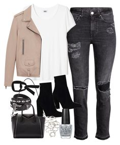 """""""Outfit with a blush jacket"""" by ferned ❤ liked on Polyvore featuring Yves Saint Laurent, Givenchy, Gianvito Rossi, Zara, Forever 21 and OPI"""