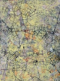 Stanza Abstract Painting - City Of Desires - British Abstract Art Oil Cityscape Mapping Yellow 2012 Abstract Landscape Painting, Abstract Oil, Landscape Paintings, Abstract Paintings, Oil Painting Texture, Texture Art, Colorful Paintings, Figure Painting, Art Oil