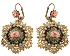 Romantic Dangle Earrings by Michal Negrin with Rose Brass Ornament and Beads | eBay