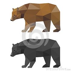 Abstract polygonal geometric triangle bear set isolated on white background for use in design