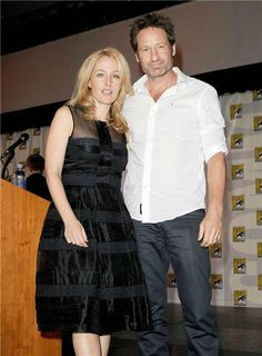 Gillian Anderson and David Duchovny at San Diego Comic-Con on July 18, 2013.