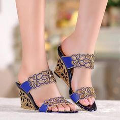 52156b997fe1d6 Shoespie Rhinestone Flower Rhinestone Cut-out Wedge Sandals Mules Shoes