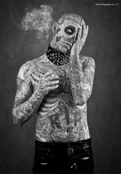 """Everybody has their own opinion and own ideas of what beauty is. I did this because I wanted to be me."" - Rick Genest aka 'Zombie Boy'"