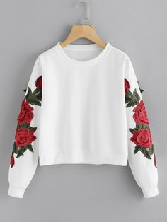 Rose Embroidered Applique Sweatshirt - Rose Embroidered Applique Sweatshirt Source by - Girls Fashion Clothes, Teen Fashion Outfits, Girl Fashion, Girl Outfits, Fast Fashion, Womens Fashion, Crop Top Outfits, Cute Casual Outfits, Shopping Outfits