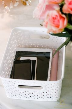 How to Design a Fabulous Home Office Space - Randi Garrett Design organize the clutter with baskets