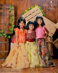 Indo-Western Kids' Wear With A Lovely Floral Theme! Baby Fancy Dress, Kids Dress Wear, Kids Gown, Kids Wear, Girls Frock Design, Kids Frocks Design, Girls Maxi Dresses, Baby Girl Dresses, Baby Frock Pattern