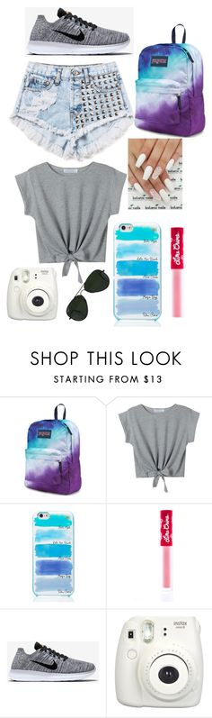 """School Day"" by hipopaws on Polyvore featuring JanSport, WithChic, Kate Spade, Lime Crime, NIKE and Ray-Ban"