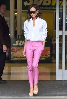 colored straightly pant with white button down