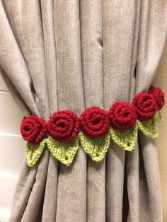 Crochet Curtain Tieback - 1 pair red rose flower by JinesCrafts on Etsy