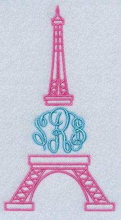 The Eiffel Tower Embroidery Monogram Frame | Apex Embroidery Designs, Monogram Fonts & Alphabets