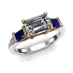 Diamond Engagement Ring with Emerald Cut Sapphire Side by jetflair