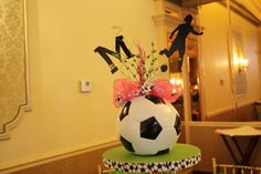 Soccer Ball Centerpiece for Marissa's Bat Mitzvah by Colshelly at Etsy Soccer Birthday Parties, Soccer Party, Soccer Ball, Play Soccer, 12th Birthday, Soccer Decor, Soccer Gifts, Soccer Centerpieces, Soccer Baby Showers