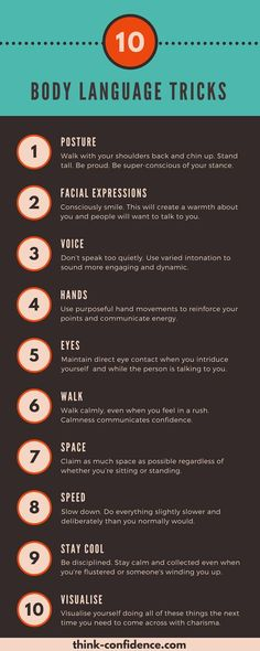 Handy tips for Confident Body Language. Tricks you can try straightaway. #bodylanguage #infographics #confidence