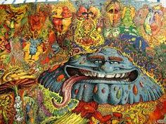 Magic mushroom, bright colours, psychoactive, psychedelic, patterns, drugs, trippy, plants, fantasy, comedic, detailed, intense