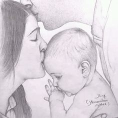 Mom and Baby Girl Drawing Sketches, Dark Art Drawings, Girly Drawings, Art Drawings Sketches Simple, Pencil Art Drawings, Artwork Drawings, Sketches Of Love, Sketch Art, Desenhos Halloween