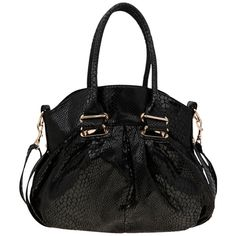 A|Wear Black Slouchy Snake Shoulder Bag ($40) ❤ liked on Polyvore