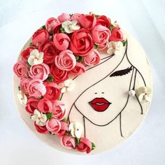 Image could contain: flower - cake decorating recipes kuchen kindergeburtstag cakes ideas Pretty Cakes, Cute Cakes, Beautiful Cakes, Amazing Cakes, Beautiful Birthday Cakes, Buttercream Flowers, Buttercream Cake, White Fondant Cake, Cookies Cupcake