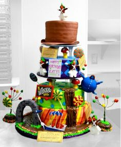 Four tier fancy Wonka Factory Golden Ticket birthday cake.JPG (5 comments)