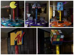 80's Party Centerpieces made by Ideal Party Decorators - www.idealpartydecorators.com
