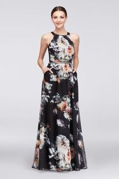 Details like a pleated neckline and jeweled waist make this floral chiffon A-line gown a pretty choice for mothers of the bride. Side pockets offer a place to stash tissues for wiping away happy tears