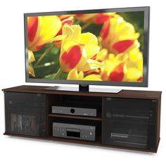 """TV Stand Console Center DVD Entertainment Media Open Storage Shelves 64"""" BROWN #CLSON #ModernContemporary"""