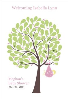 My Sister did this for my baby girl's shower but had everyone make a leaf using their finger print. Such an awesome keepsake!