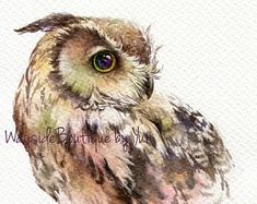 PRINT owl Watercolor painting x 11 Cute Baby Owl, Baby Owls, Owl Watercolor, Watercolor Paintings, Eye For Beauty, Baby Prints, Artwork Prints, Fine Art Paper, Fantasy