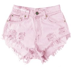 """ALL SIZES """"BLOSSOM"""" Vintage Levi high-waisted denim shorts pastel baby... (425 ARS) ❤ liked on Polyvore featuring shorts, bottoms, pink and denim shorts"""