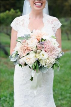 so much to love about this bouquet Photography By /, Floral Design By / Life Style Bride Bouquets, Bridesmaid Bouquet, Flower Bouquets, Orange Wedding, Floral Wedding, Lace Wedding, Blush Bouquet, Pastel Bouquet, Bouquet Toss