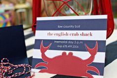 Crab/Nautical Birthday, Shower, Party Invitation
