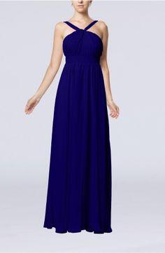 Electric Blue Party Dress - Simple V-neck Sleeveless Chiffon Floor Length
