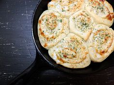 Parmesan garlic rolls. I love bread done in the cast iron skillet. (then, I love everything done in a cast iron skillet)