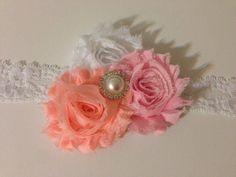 pink white and peach headband baby headband newborn by LBbowtique1