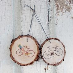 His & Her Bicycle Ornaments. His & Her Bicycle Ornaments: This ornament set features a classic black road bike and beautiful red town bike with a basket full of flowers! *The picture shown is an example. The grain patterns, wood color, and hand printing will not look exactly the same as the example. String to hang ornament may vary! Please feel free to contact me with any questions at briana@sage8studio.com Thanks for visiting Sage8Studio Amazon Handmade!.