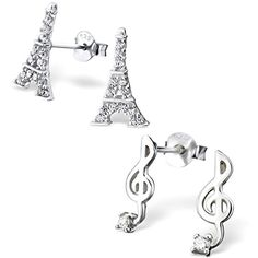 06486babf86 ICYROSE Earring 925 Sterling Silver Hypoallergenic Set of 2 Pairs Eiffel  Tower