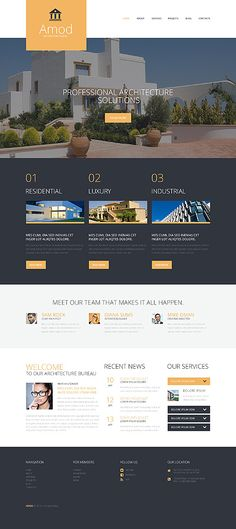 If you need to set up a site that builds visitor confidence at a glance, this #Architecture theme with its large slider showcasing your works and cleverly organized content blocks with bold images and brief but informative descriptions is just what you need.