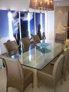 Handmade & designed dining table with illuminated backdrop by MiD Interior Design And Graphic Design, Dining Rooms, Dining Table, Handmade Design, Backdrops, Conference Room, Furniture, Home Decor, Dining Room Table