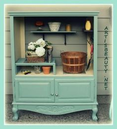 ** Use A Recycled Armoire As A Rustic Potting Bench @SAburns