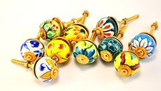"set of 10 floral multicolor colorful yellow/ green/red/blue/pink ceramic cupboard door cabinet knobs drawer pulls Small 1"" diameter Karmakara http://www.amazon.com/dp/B00M7SEJQO/ref=cm_sw_r_pi_dp_Xdzgub0RP19X4"