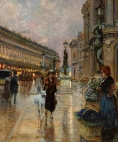 Stein, Georges (b,1870)- Flower Seller, Paris Opera House