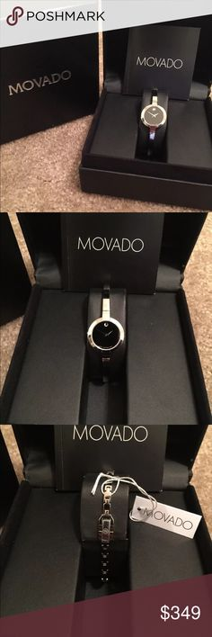 Movado Women's Watch - Silver Bangle Style Condition: Brand New With Tags  Quantity: 1 available  Gender: Women's  Case Material: Stainless Steel  Brand: Movado  Age Group: Adult  MPN: 84.A1.1841  Display: Analog  Watch Shape: Round  Movement: Quartz (Battery)  Style: Luxury  Band Material: Stainless Steel  Case Color: Silver  Face Color: Black  Band Color: Silver  Band Type: Bracelet/Link Band Movado Accessories Watches