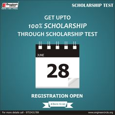 GET UPTO 100% SCHOLARSHIP THROUGH SCHOLARSHIP TEST. test will be held on 28 - June - 2015 2 Days To Go...! ‪#‎Scholarship‬ ‪#‎test‬ ‪#‎GATE‬ Engineer's Circle