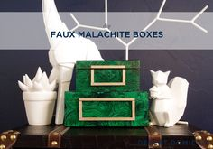 DIY $8 Faux Malachite Boxes