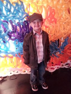 Finn at Olek's Crocheted Balloon Funhouse at the Krause Gallery