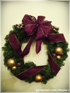 Holiday Christmas wreath decoration 2011  #LSU themed Colors #purple and #gold