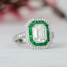 Diamond and Emerald Engagement Ring - Vintage Style - GIA - F Color - Row of pave diamonds surrounding an emerald cut diamond Deco Engagement Ring, Vintage Engagement Rings, Diamond Engagement Rings, Wedding Engagement, Wedding Rings, Emerald Cut Diamonds, Halo Diamond, Diamond Cuts, Vintage Art Deco Rings