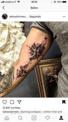 Kompass Tatoo - - Galena U.- Kompass Tatoo – – Galena U. Forarm Tattoos, Forearm Sleeve Tattoos, Tattoo Sleeve Designs, Tattoo Designs Men, Leg Tattoos, Body Art Tattoos, Tatoos, Tattoo Arm, Cute Tattoos