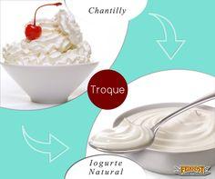 Troque o chantilly por iogurte natural desnatado ( com a IogurteiraIzumi você ainda vai poder fazer o iogurte em casa!). A sobremesa fica muito mais saudável e pode ser incluída em refeições como o café da manhã e os lanches intermediários. Isso se deve ao baixo teor calórico e de gordura do iogurte.