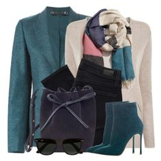 """""""Suede Bucket Bag & Boots"""" by brendariley-1 ❤ liked on Polyvore featuring Gucci, Theory, A Peace Treaty, Paige Denim, Mansur Gavriel, Gianvito Rossi, Ray-Ban, blazer, jeans and gucci"""